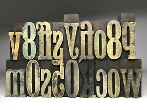 Letterpress Print Type Wood Letters And Numbers 18 Pieces Lot Of 18