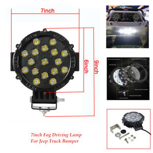 7 Boat Round Off Led Work Lights Fog Driving Lamp Jeep Truck Bumper Universal