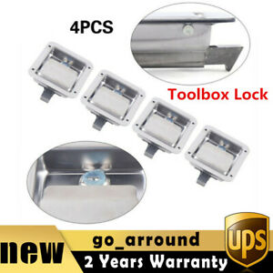 4 Paddle Door Lock Stainless Steel 2 Key Latch Handle Truck Tool Box Trailer