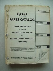 Original International Farm Implements Parts Catalog Manual F34i 1 Vol Ii