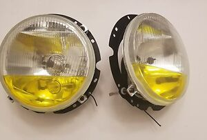 Vw Volkswagen Mk1 H4 Round Euro Fog Park Headlights Rabbit 75 84 V Dub Pair New