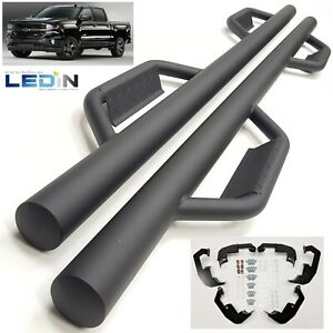 Side Step Nerf Bar For 07 18 Silverado Gmc Sierra Crew Cab Dropped Step Textured