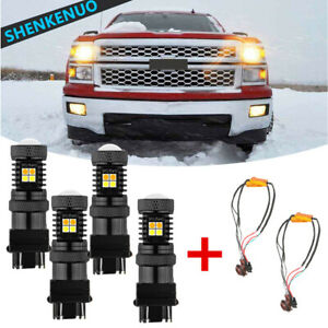 White Amber Switchback Led Turn Signal Light Bulbs For Chevy Silverado 99 2014