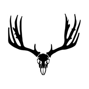 Car Window Decal Truck Outdoor Sticker Hunting Hunter Buck Mule Deer Skull Mount