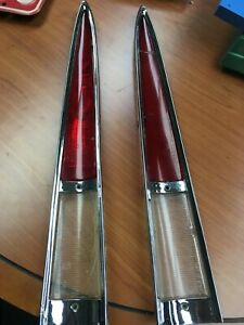 1964 1965 1966 Imperial Pair Chrome Tail Light Assembly Bezels Inserts Nos