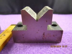 Vintage Precision Machinist Tools Small V Block Base 1 In X 2 In 2 Drilled Holes