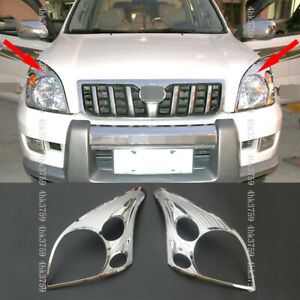 For Toyota Lc Prado Fj120 2003 2009 Chrome Front Head Light Lamp Cover Trim 2p