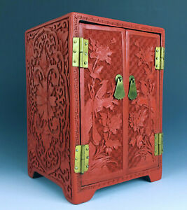 Antique Chinese Cinnabar Lacquer Miniature Jewlery Cabinet