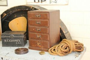 Vintage Antique Industrial Oak Brass Handle Box Paper File Cabinet 5 Drawer