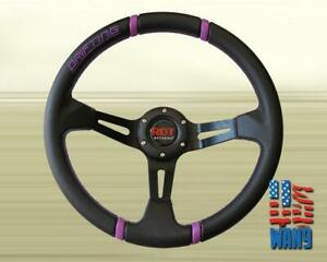 355mm 6 Hole Deep Dish Purple Drift Steering Wheel For Boss Kit Momo Hkb Omp