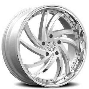 4ea 22 Staggered Lexani Wheels Turbine Silver With Ss Lip Rims S13