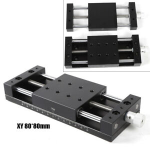 80 80mm X Y Axis Stage Sliding Aluminum Alloy Manual Slide Table Load 78 4n