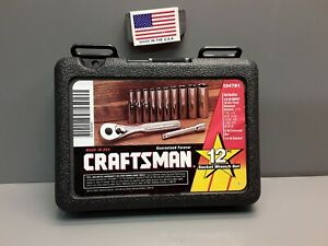 Craftsman 12 Pc Socket Set 1 4 Drive 6 Point Sae Deep Sockets 9_34781 New Usa