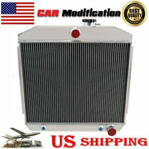 4 Row Core Aluminum Radiator W cooler Fit 1955 1956 1957 Chevy Bel Air V8 Us