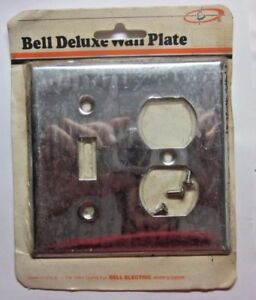 Bell 2 Gang Combo Switch Outlet Plate Wall Cover Shiny Chrome Vintage Retro