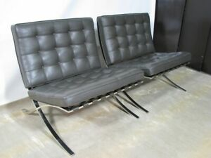 Pair 1980 S Mies Van Der Rohe Knoll Barcelona Chairs Brown Leather Cushions