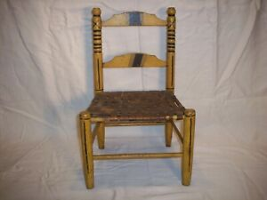 Early Childs Hand Painted Small Chair Yellow