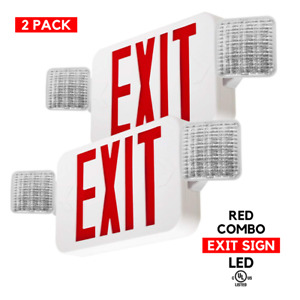 2 Pack Red Led Exit Sign Emergency Light Square Head Combo Fixture Ul924