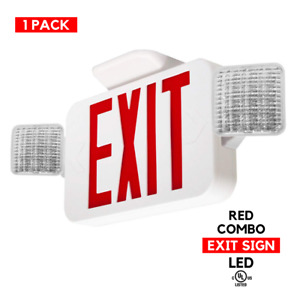 1 Pack Red Led Combo Exit Sign Emergency Light Remote Capable Combo Fixture