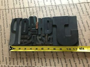 Letterpress Print Type Wood Letter And Number Group 15 Pieces