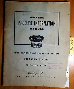 Ford Tractor Plow Implement Ferguson System Production Information Manual 1945