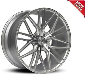 4ea 22 Staggered Road Force Wheels Rf13 Silver Machined Rims S7
