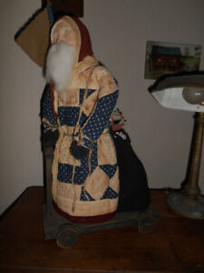 Arnett S Country Store Patriotic Santa On Cart Old Quilt Coat Sack Gifts