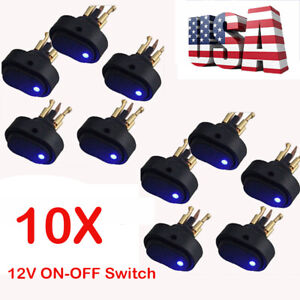 10 12v 30amp 30a Heavy Duty Blue Led On off Rocker Switch Car Boat Marine 2020