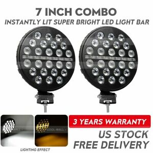 2x 7inch Led Work Light Round Driving Fog Lamp Combo Drl Trun Signal Offroad 4wd