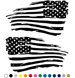 Distressed American Flag Decal Fender Door Sticker Set Of 2 For Left And Right