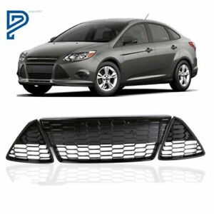 Fit Ford Focus 2012 2013 2014 Front Lower Grille Grill 3pcs Honeycomb