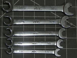 Mac 5pc Sae Speed Ratchet Combination Flare Nut Line Wrench Set 3 8 5 8 Cobr 6pt