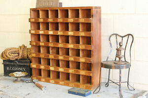 Vintage Industrial Hardware Wooden Cubby Shelves Parts Bins Factory Pigeon Hole