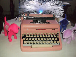 Antique 1950s Royal Bubble Gum Pink Manual Portable Typewriter