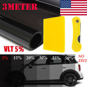 20 10ft 5 Vlt Black Car Home Glass Window Tint Tinting Film Roll Us Local