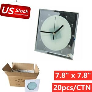20pcs lot 7 8 X 7 8 Sublimation Blank Glass Photo Frame With Clock Us Stock