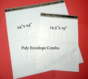 10 Large Poly Bag Mailer Combo 24x24 14 5x19 Plastic Shipping Envelopes