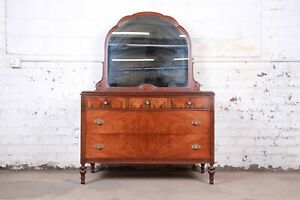 Antique Burled Walnut Dresser With Mirror Attributed To Baker Furniture