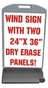 Sidewalk Sign Wind Frame Sandwich Board 53 X 29 Dry Erase Panels 24 X 36