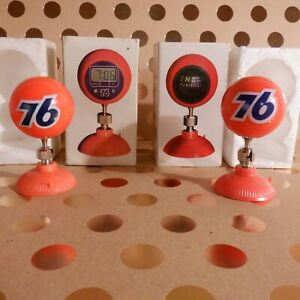 Rare Pair Lot Vtg Nos Union 76 Compass Clock Suction Cup Display Bomber Show Rod