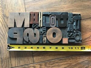 Letterpress Print Type Wood Letter Numbers And Punctuation Group 29 Pieces