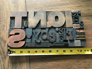 Letterpress Print Type Wood Letter Numbers And Punctuation Group 31 Pieces