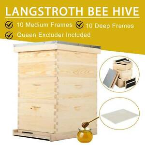 Complete Langstroth Bee Hive 10 frame 2 Deep Box 1 Medium Box Queen Excluder