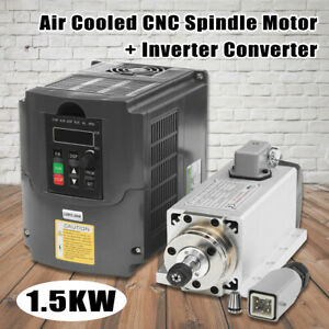 110v 1 5kw Air Cooled Cnc Spindle Motor Inverter Converter 0 24000rpm
