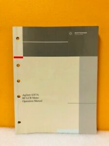 Agilent 4287a Rf Lcr Meter Operation Manual