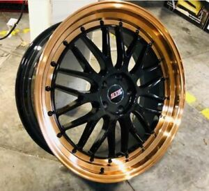 18x9 4x114 3 Str 601 Black Face Copper Lip Made For Nissian