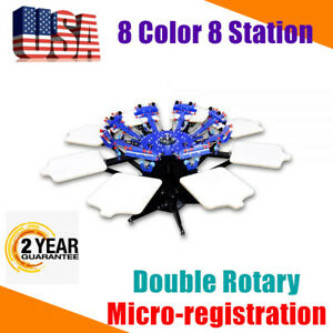 Us 8 Color 8 Station Screen Printing Press Micro registration 2 Rotary Machine
