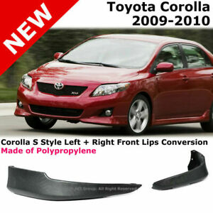 For 09 10 Toyota Corolla S Style Front L r Lower Body Kit Lip Spoiler P p Black