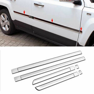 6x Car Side Door Chrome Molding Trim Cover Protecter For Jeep Patriot 2011 2015