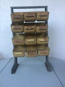 Vintage Bathey Heavy Duty Metal Parts Bin Caddy 12 bins Industrial Strong